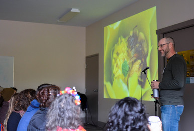 Invited speaker, Lincoln Best talks about the diversity of bees.
