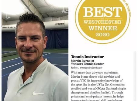 "YTC Coach, Martin Byrne, wins 2020 Best ""Tennis Instructor""  by Westchester Magazine"