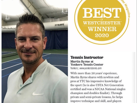 "YTC Coach, Martin Byrne, wins 2020 Best ""Tennis Instructor""  by Westchester Magazine"