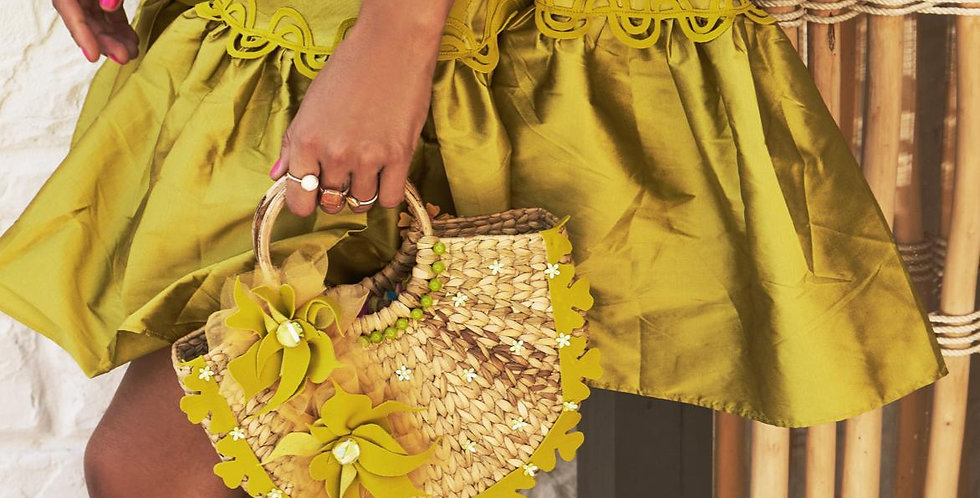 CAROL 3D Floral Jute Basket bag