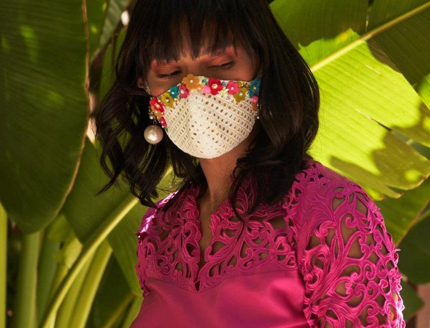 AURA Cotton Floral Appliqué mask