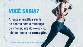 Você sabia? No treino, a fonte energética varia de acordo com a mudança de intensidade.