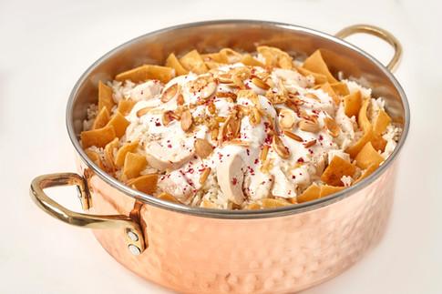 Chicken fattah with yoghurt