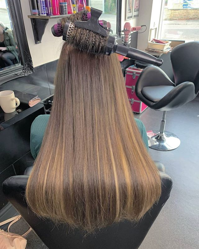 Sleek hair extension blowdry on this bea