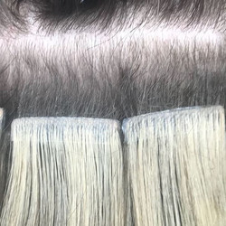 Tape extensions at removal, beautiful ne