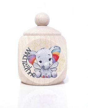 Elefant, Milchzahndose kaufen, Milchzahndose personalisiert, Milchzahndose Holz