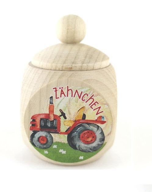 Milchzahndose Traktor, rot, Milchzahndose kaufen, Milchzahndose personalisiert, Milchzahndose Holz