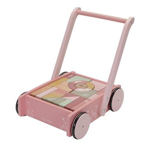Little Dutch Holz Lauflernwagen mit Bauklötzen Rosa