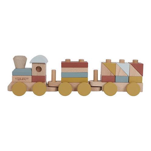 Little Dutch Holz-Eisenbahn mit Steckformen Color