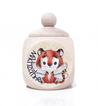 Milchzahndose Tiger, otange, Milchzahndose kaufen, Milchzahndose personalisiert, Milchzahndose Holz