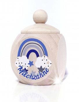 Milchzahndose Regenbogenn, blau, Milchzahndose kaufen, Milchzahndose personalisiert, Milchzahndose Holz