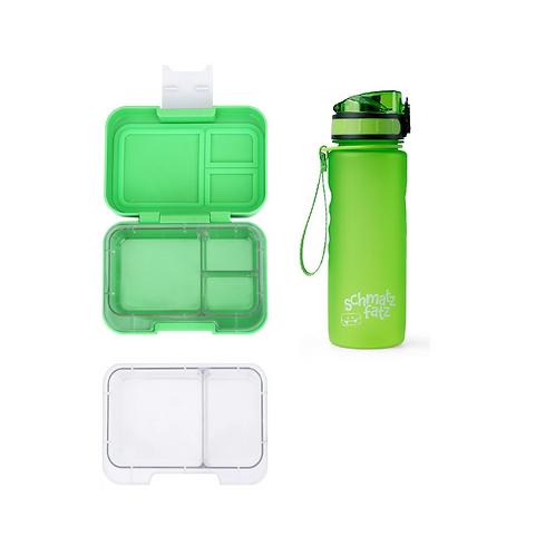SET Munchi Snack, Set Munchbox, Znünibox und Trinkflasche, Trinkflasche personalisiert, Znünibox personalisiert,grün