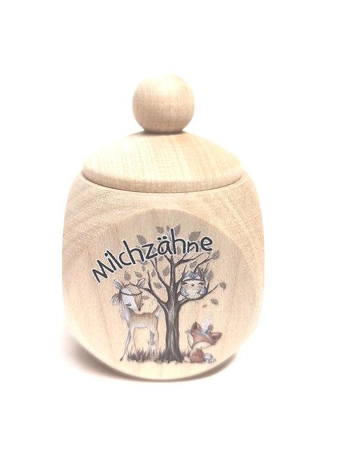 Milchzahndose Tiere, Waldtiere, Milchzahndose kaufen, Milchzahndose personalisiert, Milchzahndose Holz