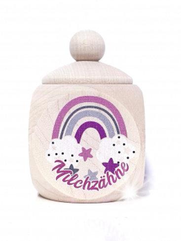 Milchzahndose Regenbogenn, pink, Milchzahndose kaufen, Milchzahndose personalisiert, Milchzahndose Holz