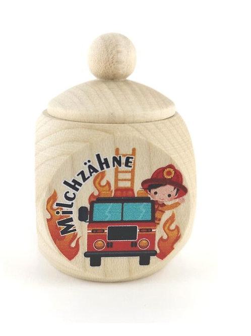 Milchzahndose Feuerwehrauto, Milchzahndose kaufen, Milchzahndose personalisiert, Milchzahndose