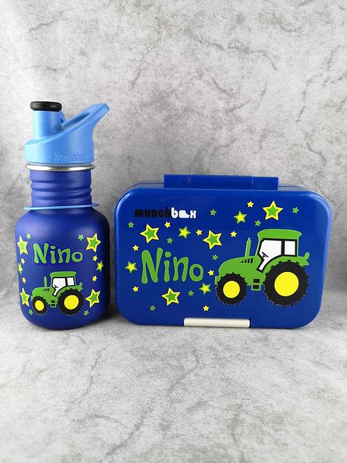 Set Znünibox und Trinkflasche. Znünibox personalisiert,Lunchbox personalisiert, Klean Kanteen personalisiert, Munchi Snack