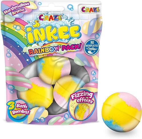 CRAZE Inkee Badebombe Rainbow Pack, 3er-Pack