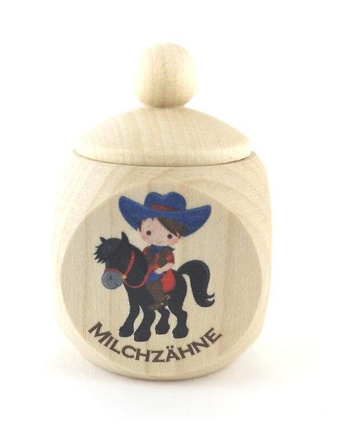 Milchzahndose Cowboy, Milchzahndose kaufen, Milchzahndose personalisiert, Milchzahndose