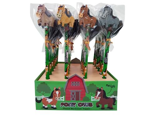 Bleistift mit Radiergummi Pferd assortiert