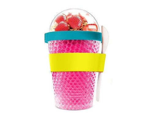 Asobu Thermo Yoghurt-/Müslibecher 390ml Pink