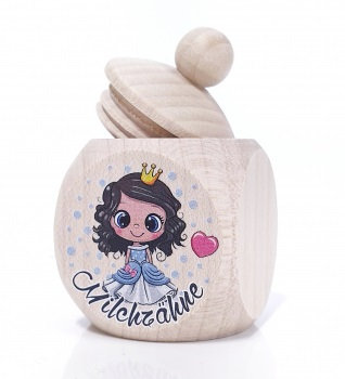 Milchzahndose Prinzessin, Mädchen, blau, Milchzahndose kaufen, Milchzahndose personalisiert, Milchzahndose Holz