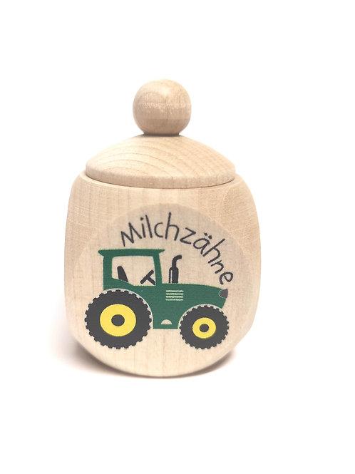 Milchzahndose Traktor, grün, Milchzahndose kaufen, Milchzahndose personalisiert, Milchzahndose Holz
