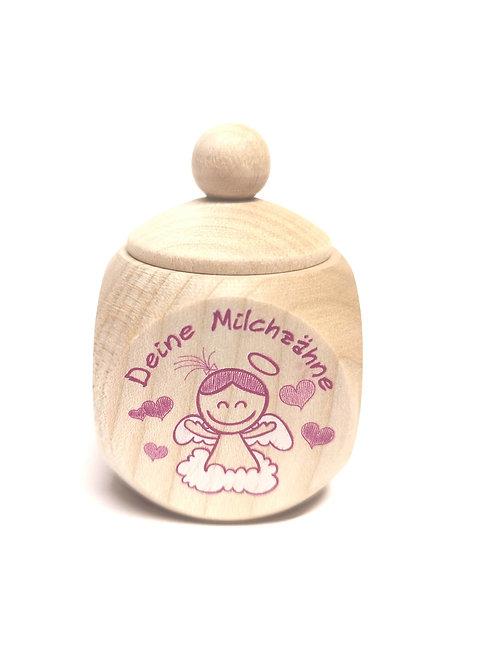 Milchzahndose Schutzengel, pink, Milchzahndose kaufen, Milchzahndose personalisiert, Milchzahndose Holz