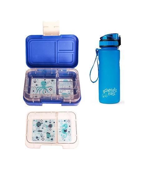 SET Munchi Snack, Set Munchbox, Znünibox und Trinkflasche, Trinkflasche personalisiert, Znünibox personalisiert,blau