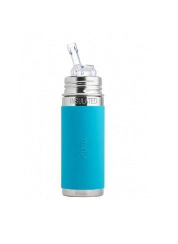 Pura Trinkhalm Isolierflasche 260ml Blau