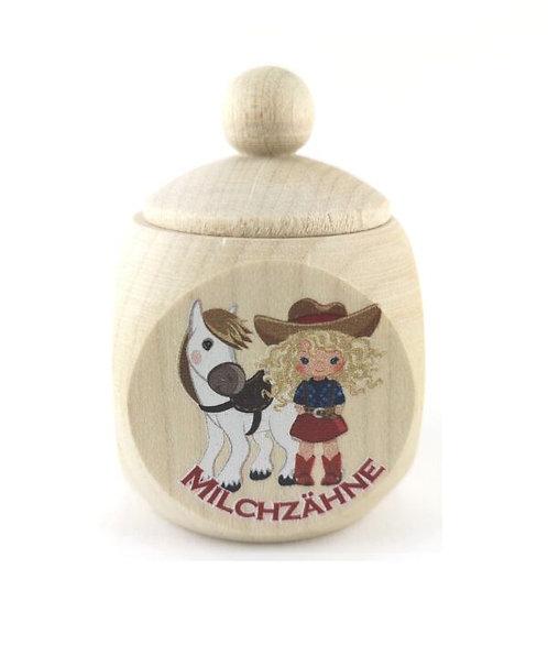 Milchzahndose Cowgirl, Milchzahndose kaufen, Milchzahndose personalisiert, Milchzahndose