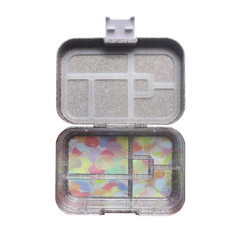 Munchbox Glitzer Silber mit 5 Unterteilungen