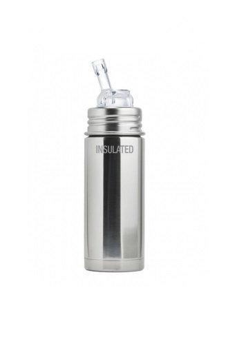Pura Trinkhalm Isolierflasche 260ml Silber ohne Überzug