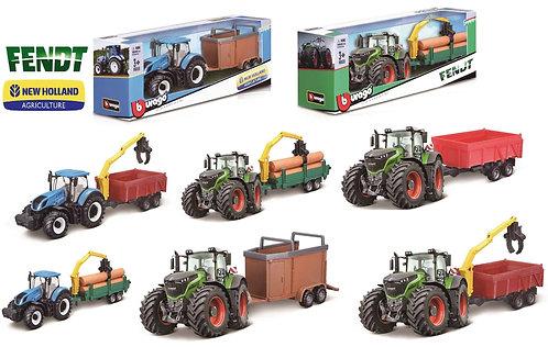 Burago Farm Tractor mit Anhänger Fendt+New Holland assortiert