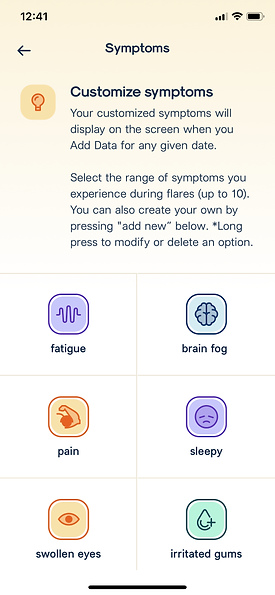 Customize Symptoms
