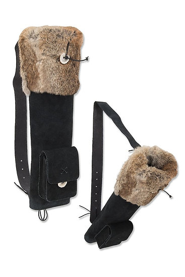 SMALL HUSK BLACK SUEDE WITH FUR 48cm