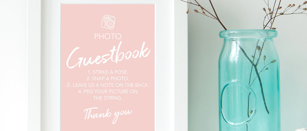 Photo Guestbook Wedding Sign, DIY Photo Guest Book Reception Signs, Guestbook Wedding Sign, Modern