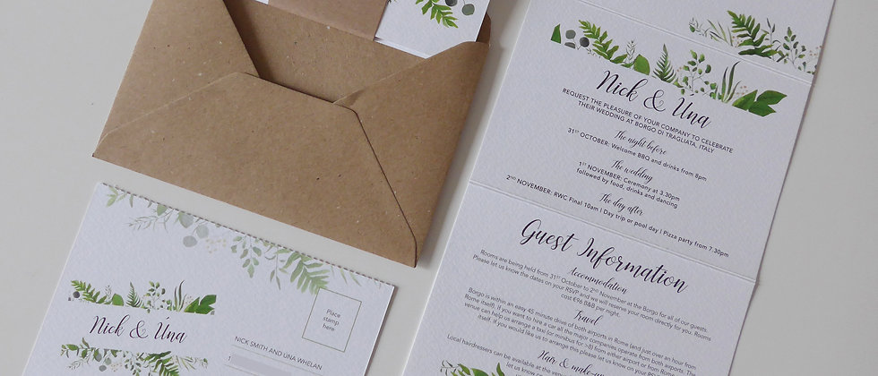 Greenery Concertina Wedding Invitation