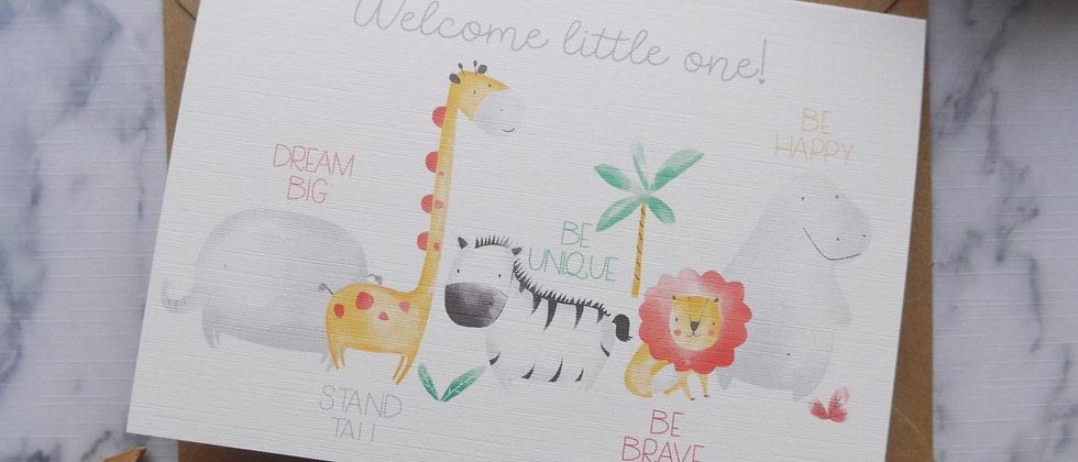 New Baby Girl Card, New Baby Boy Card, Welcome Little One Card, Safari Card, Newborn Baby Card, New Baby Keepsake