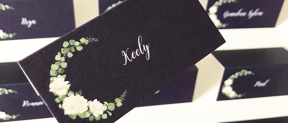 Rustic Wedding Place Card, Tentfold, Rose Place Card, Floral Place Card, Navy Place Card, Wreath Place Card