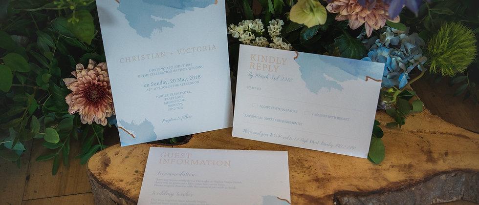 Watercolour and metallic wedding invitation