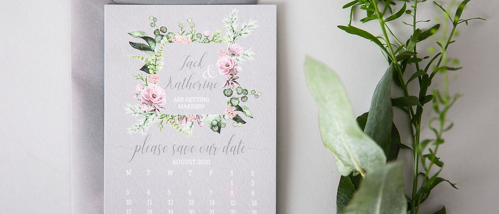 Pink wildflower save the date