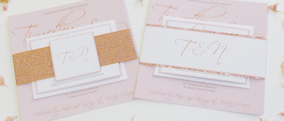 Blush and Rose Gold Wedding Invitation