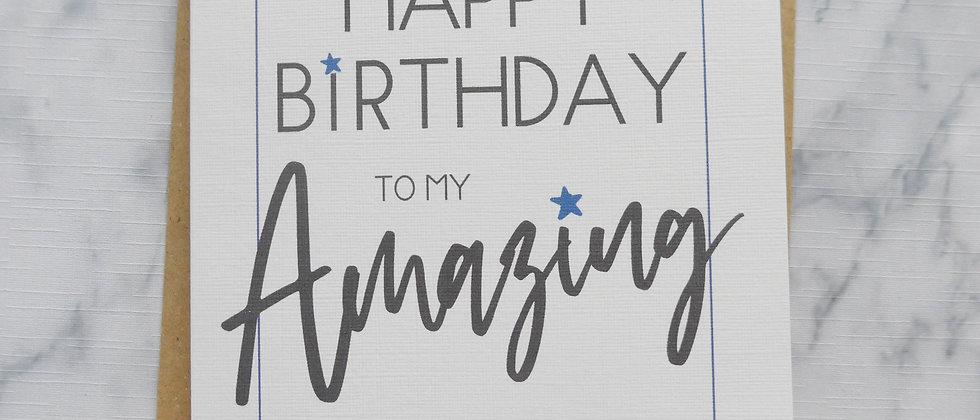 Amazing Husband Birthday Card, Happy Birthday Card, Card For Husband/Boyfriend, Birthday Card for Him, Happy Birthday
