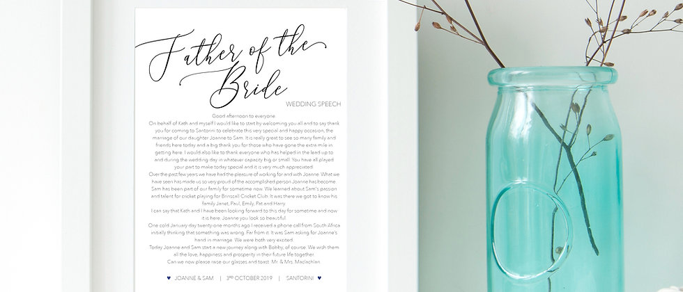 Personalised Father of the Bride / Best Man / Maid of Honour / Mother of the Bride Speech Prints