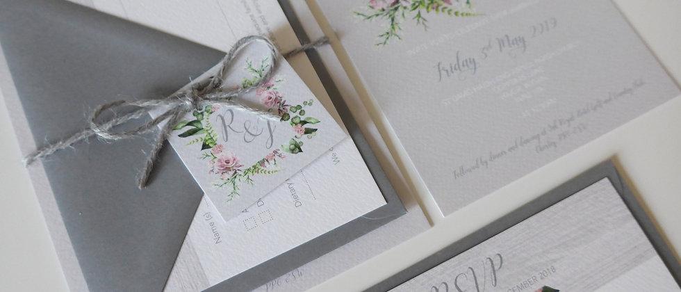 Pink wildflower wedding invitation