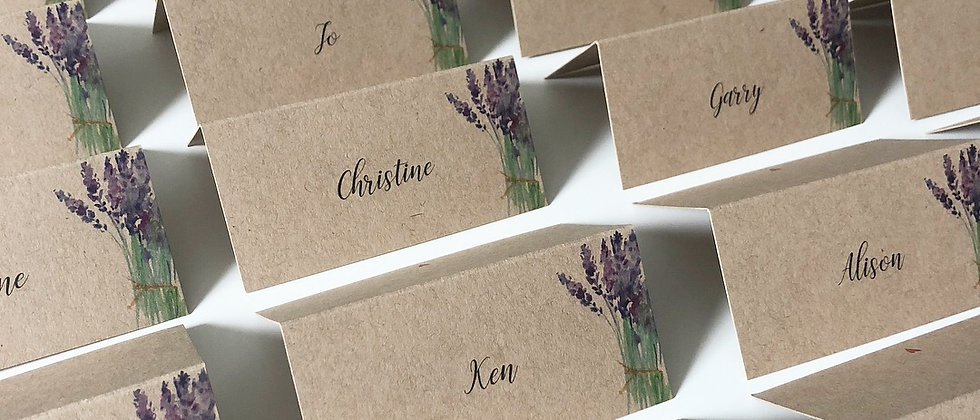 Rustic Wedding Place Card, Tentfold, Lavender, Kraft Card, Watercolour