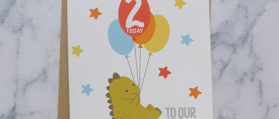 Personalised Age/Name Son Birthday Card, Cute Dinosaur Son Birthday Card, Happy Birthday To Our Roarsome Son Card, Any Age