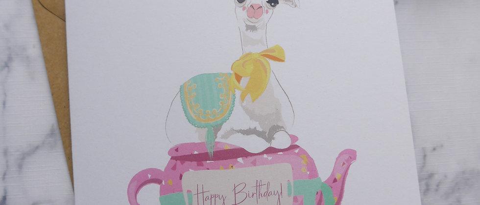 Eco-friendly Llama Birthday Card, Llama Happy Birthday, Greetings Card, Adult Birthday, Teapot, Recycled Card