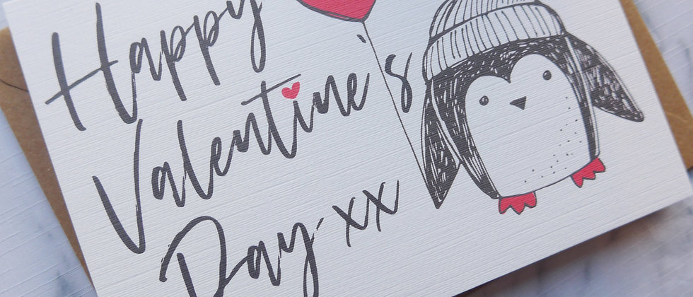 Penguin Valentine's Day card, Valentine's Day card, Cute animal Valentine's Day Card, Heart Valentine's Day Card
