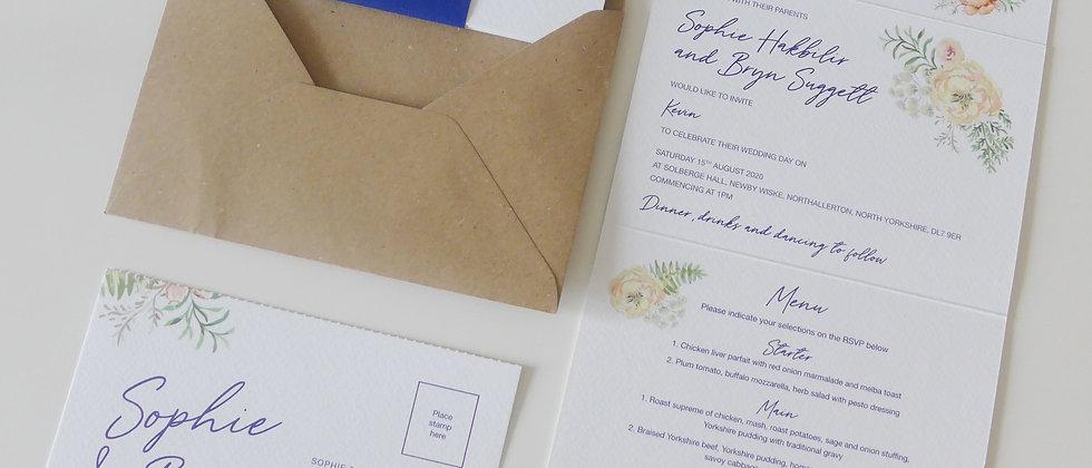 Peach and blue floral concertina wedding invitation